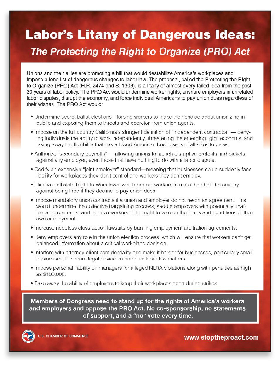 The PRO Act one page explainer (cover graphic only)