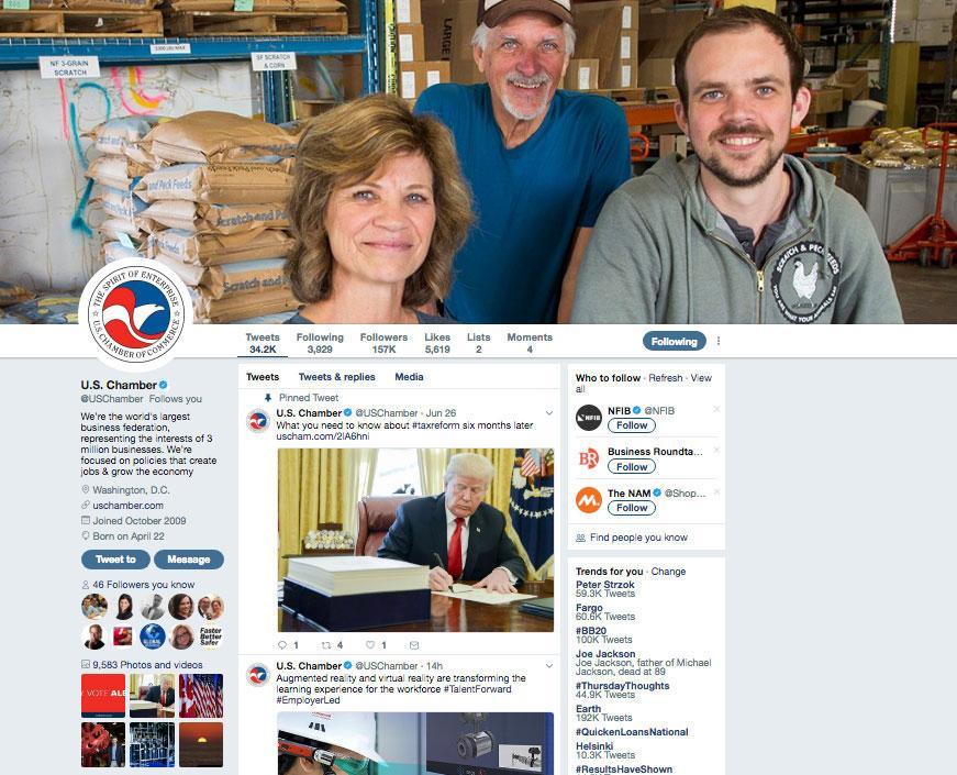 U.S. Chamber of Commerce Twitter Page Screenshot