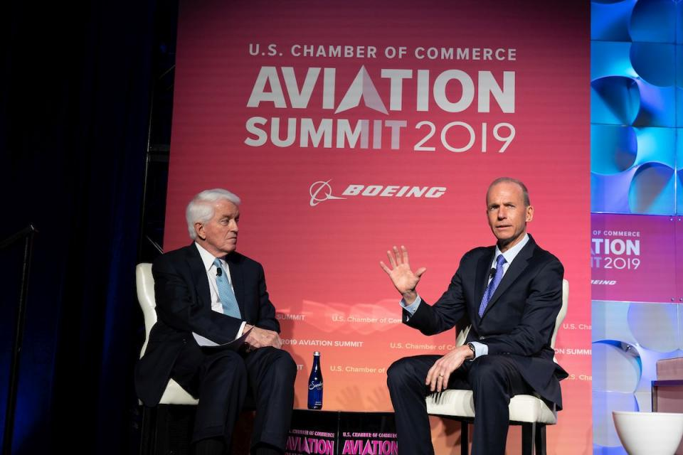 U.S. Chamber President and CEO Tom Donohue (left) chats with Boeing President, Chairman, and CEO Dennis Muilenburg at the 2019 Aviation Summit.