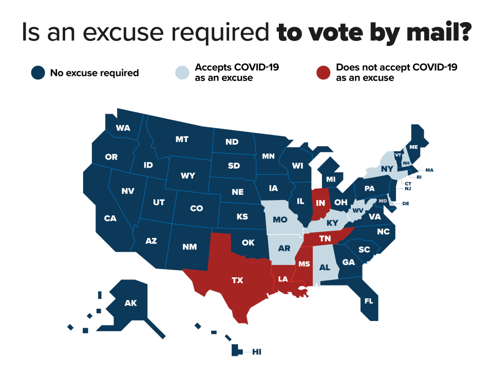 map of absentee ballot rules