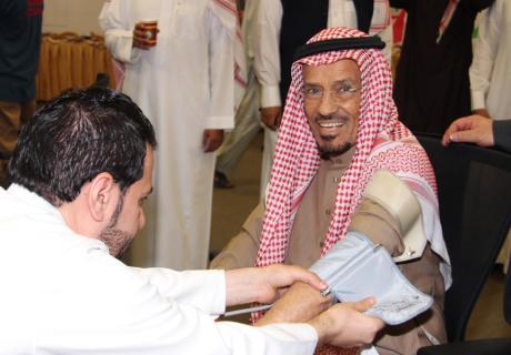 A man getting his blood pressure checked at a U.S. Chamber-sponsored health screening in Riyadh, Saudi Arabia.