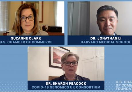 U.S. Chamber President Suzanne Clark discusses COVID-19 variants with Dr. Sharon Peacockof the COVID-19 Genomics U.K. Consortium andDr. Jonathan LiofHarvard Medical School.