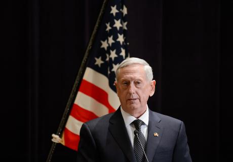 General James Mattis, U.S. secretary of defense, speaks during a news conference with Tomomi Inada, Japan's defense minister. Photographer: Akio Kon/Bloomberg