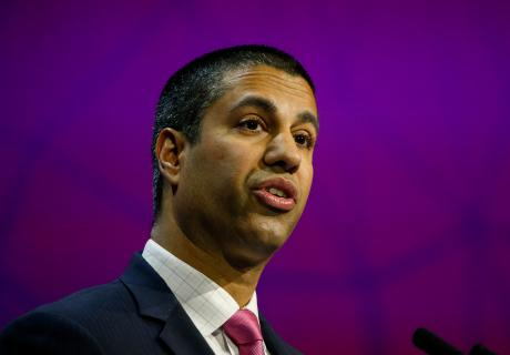 Ajit Pai, chairman of the U.S. Federal Communications Commission, delivers a speech. Photographer: Pau Barrena/Bloomberg