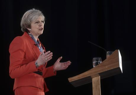 Theresa May, U.K. prime minister, speaks at the Conservative Party's annual Spring Forum in Cardiff, U.K., on Friday, March 17, 2017. May will pledge to forge a closer union within the U.K. in a rebuke to Scottish National Party leader Nicola Sturgeon, wh