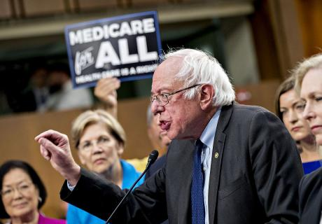 Senator Bernie Sanders (I-VT) speaks at a health care news conference on Capitol Hill in Washington, D.C.
