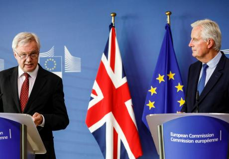 The U.K.'s David Davis (left) and the E.U.'s Michel Barnier speak at a Brexit negotiation press conference in Brussels, Belgium.