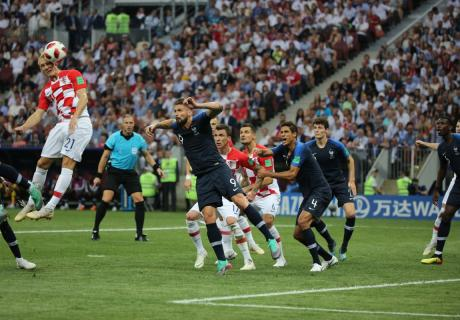 Domagoj Vida of Croatia heads a ball during the FIFA World Cup final match in Moscow, Russia, on Sunday, July 15, 2018.