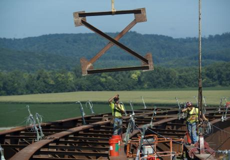 Contractors work on a highway exit ramp near Portsmouth, OH.