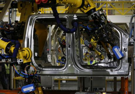 An F150 truck on the production line at Ford Motor Company's Dearborn Truck Assembly plant.