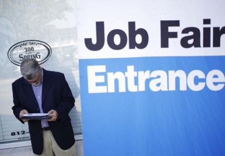 A job seeker outside a career fair in Jeffersonville, IN.