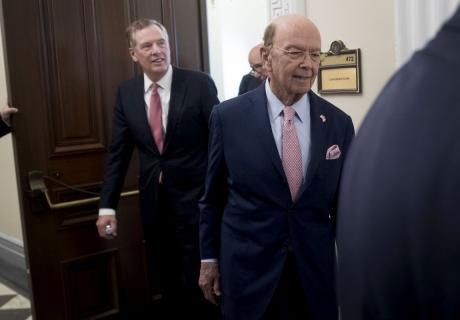 Wilbur Ross, U.S. commerce secretary, right, and Robert Lighthizer, U.S. trade representative.