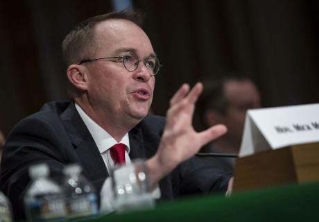 Mick Mulvaney, acting director of the Consumer Financial Protection Bureau (CFPB), speaks at a Senate Banking, Housing & Urban Affairs Committee hearing.