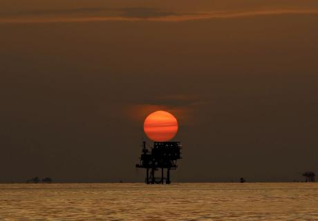 An offshore oil platform in the Gulf of Mexico off the coast of Louisiana.