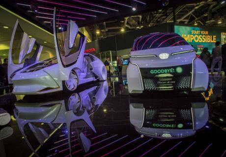 Toyota's Concept i-Ride autonomous vehicle (right) on display at the 2018 Consumer Electronics Show in Las Vegas, NV.