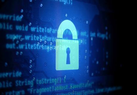 Glowing blue cybersecurity lock