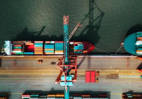high angle view on Cargo container terminal in sea port