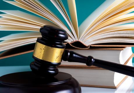 Judge's gavel and law books