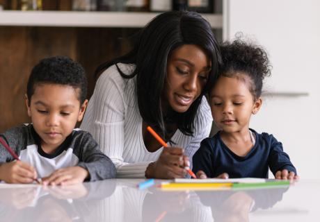 Mom Working from Home with Children