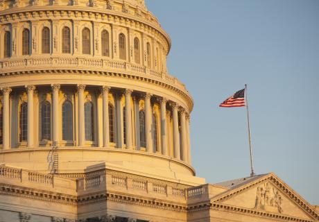 Golden sunshine on the United States Capitol.