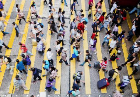 Rush hour street crossing