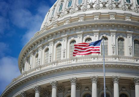 U.S. flag in front of the U.S. Capitol dome.