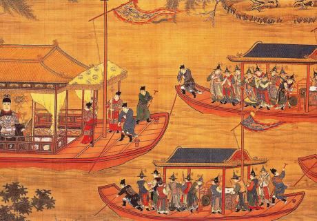 Emperor Jiajing on his state barge