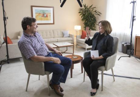 Clark interviewing Kirk Johnson
