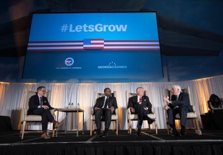 Tom Donohue at the #LetsGrow Atlanta event with Georgia Chamber President and CEO Chris Clark, Atlanta Mayor Kasim Reed, and Georgia Governor Nathan Deal
