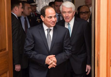 Egyptian President Abdel Fattah al-Sisi visits the U.S. Chamber of Commerce.