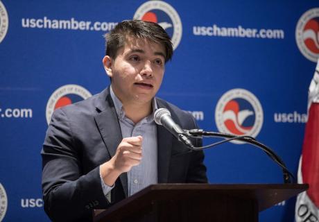 Dreamer entrepreneur Javier Velazquez, Co-Founder of Uproot Online, speaks at the U.S. Chamber.