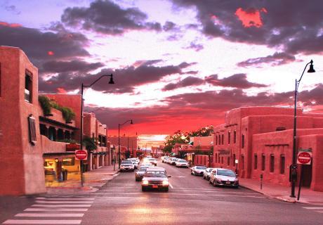 Downtown Santa Fe, New Mexico at sunset.