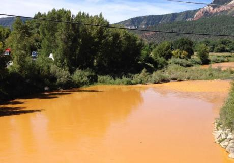 Yellow water in the Animas River after EPA's Gold King Mine spill.