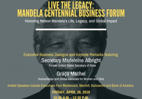 Mandella 100 Event Graphic Invitation (N Mandella with title of event and speakers listed)