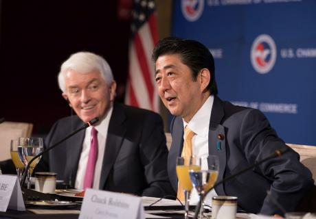 Japan's Prime Minister Shinzo Abe at the U.S. Chamber.