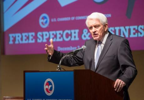 The U.S. Chamber's Tom Donohue defends free speech rights at a U.S. Chamber of Commerce Foundation event.