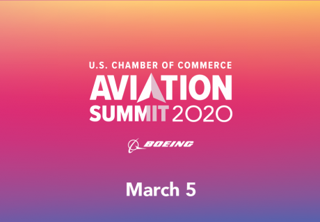 "Aviation Summit 2020 Header - Pink and Orange with ""March 5"" text"