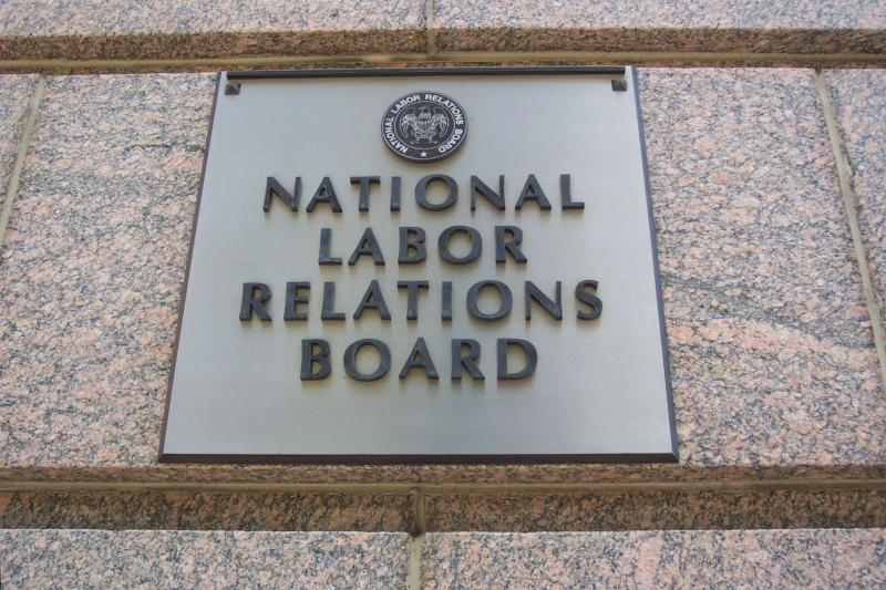 Sign outside NLRB offices.
