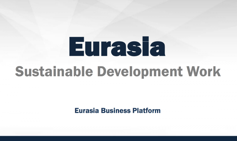 Title slide to the Eurasian Sustainability Projects report
