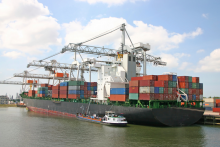 Docked cargo ship