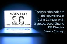Illustration of John Dillinger in a laptop related to cybersecurity.