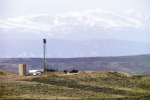 A natural gas rig in Wyoming.