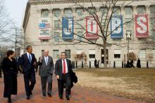 President Obama returning to the White House after meeting with U.S. Chamber of Commerce