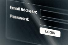 Computer screen: Email and password login.