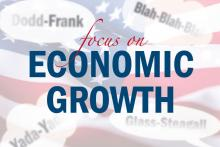Illustration of word bubbles to focus on economic growth