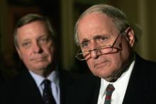 Senator Carl Levin (D-MI) right and Senator Richard Durbin (D-IL).