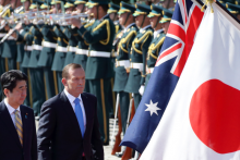 Shinzo Abe, Japan's prime minister and Tony Abbott, Australia's prime minister