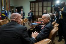 Rep. Kevin Brady, speaks with Sen. Orrin Hatch before meeting with President Trump. Photographer: Drew Angerer/Pool Bloomberg