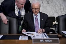 Senator Orrin Hatch waits to begin a Senate Judiciary Committee confirmation hearing. Photographer: Andrew Harrer/Bloomberg