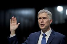 Neil Gorsuch is sworn in during a Senate Judiciary Committee confirmation hearing. Photographer: Andrew Harrer/Bloomberg